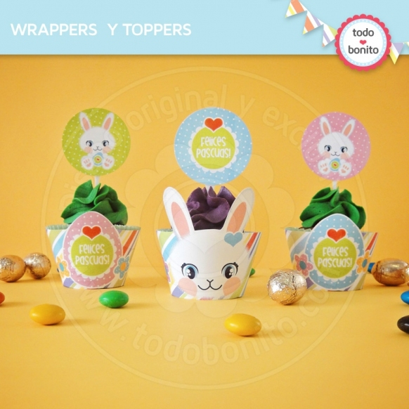 Pascuas: wrappers y toppers para cupcakes
