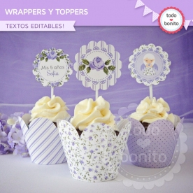 Shabby Chic Lila: wrappers y toppers