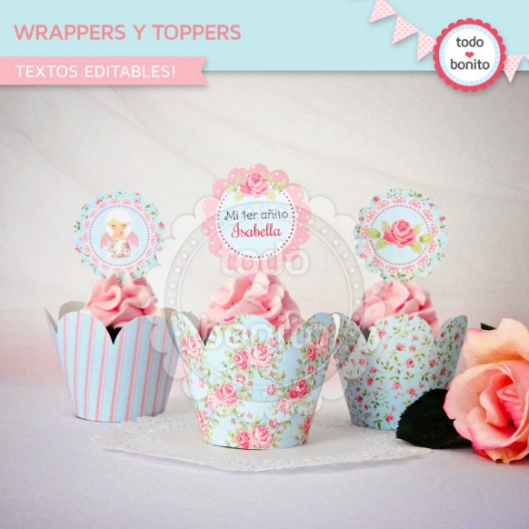 Shabby Chic aqua+rosa: wrappers y toppers