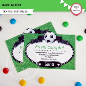 Fútbol: invitación imprimible y digital