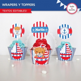 Osito Marinero: wrappers y toppers para cupcakes