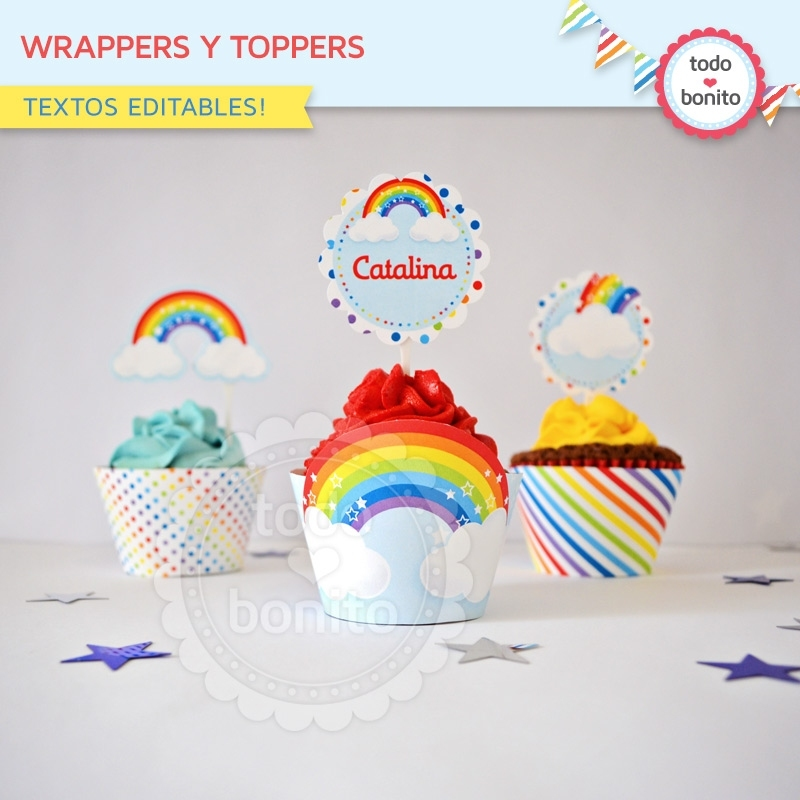 Arcoiris: wrappers y toppers - Todo Bonito