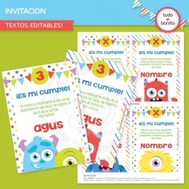 Monstruitos: invitación imprimible y digital