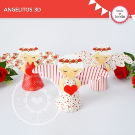 Shabby Chic Rojo: angelitos 3D