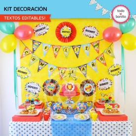 Superhéroes: kit imprimible decoración de fiesta