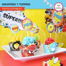 Superhéroes: wrappers y toppers para cupcakes