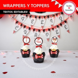 Silueta Minnie Rojo: wrappers y toppers para cupcakes
