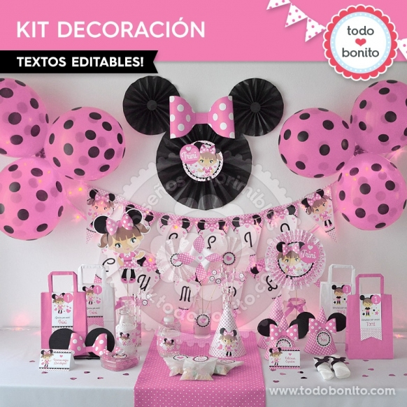 Orejas Minnie Rosa: kit imprimible decoración de fiesta