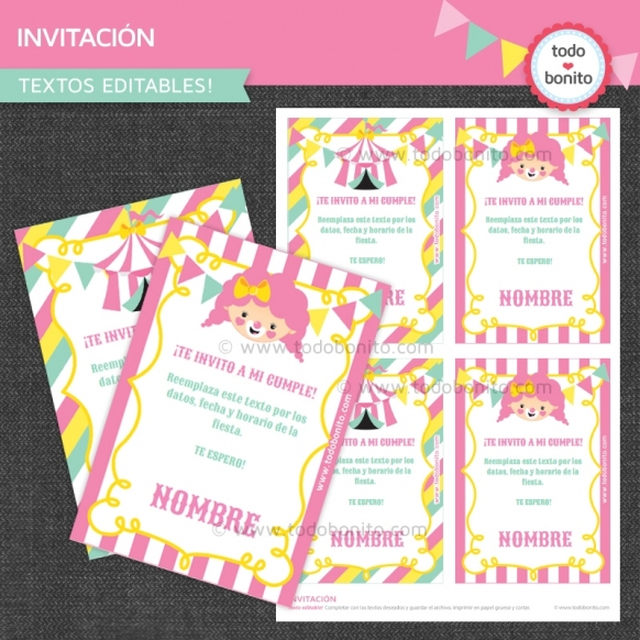 Circo niñas: invitación imprimible y digital