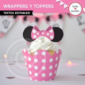 Silueta Minnie Rosa Lunares: wrappers y toppers para cupcakes
