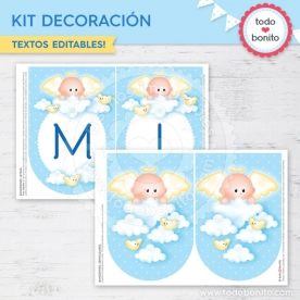 Angelito bebé celeste: kit imprimible decoración de fiesta