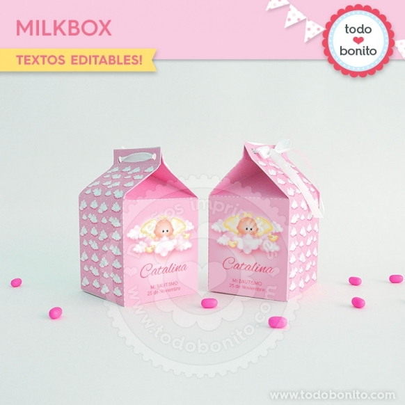 Angelito bebé rosa: milkbox