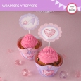 Princesa: wrappers y toppers para cupcakes