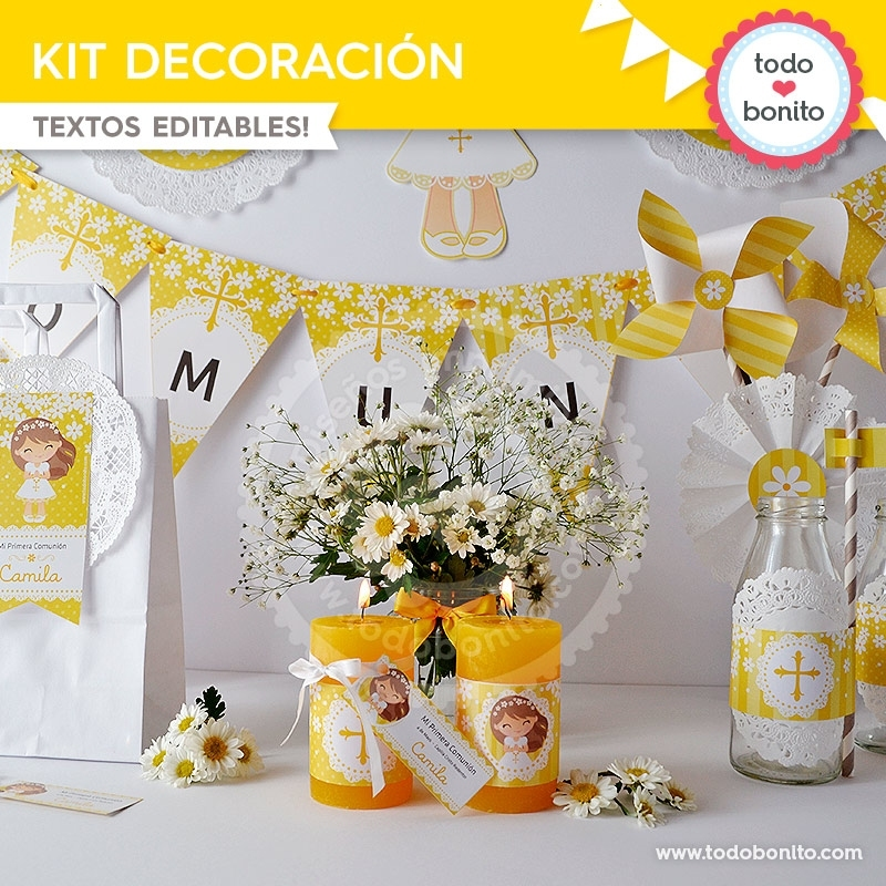 Primera comuni n margaritas kit decoraci n todo bonito for Decoracion para comunion en casa