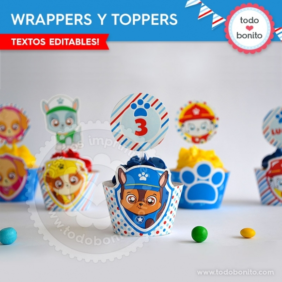 Paw Patrol: wrappers y toppers para cupcakes