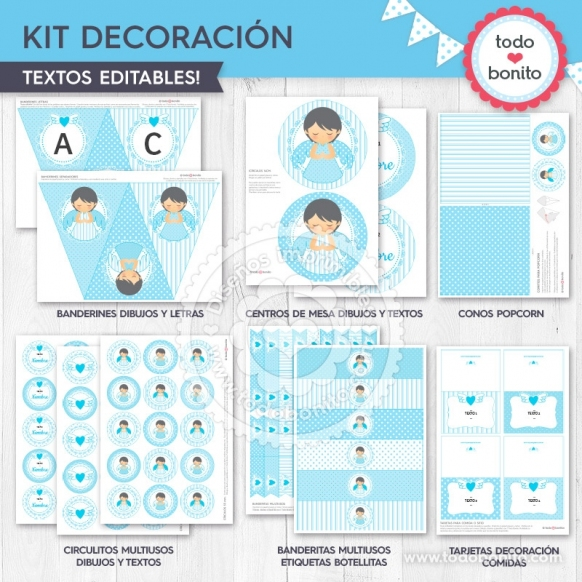 Alitas celeste: kit imprimible decoración de fiesta