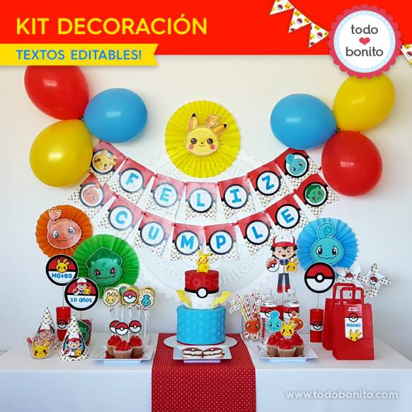 Pokémon: kit imprimible decoración de fiesta