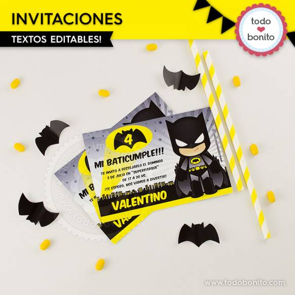 Batman: invitación imprimible y digital
