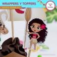Moana: wrappers y toppers para cupcakes