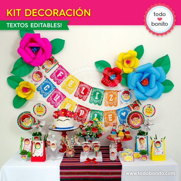 Frida: kit imprimible decoración de fiesta