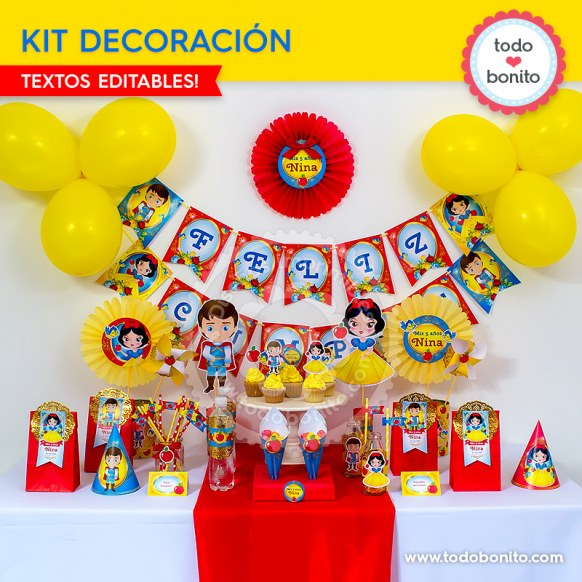 Blanca Nieves: kit imprimible decoración de fiesta