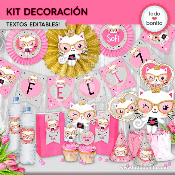 Gatita princesa cool: kit imprimible decoración de fiesta