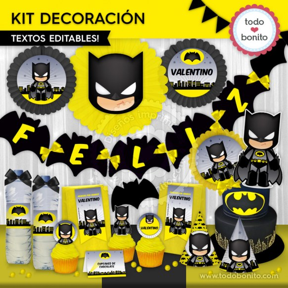Batman: kit imprimible decoración de fiesta