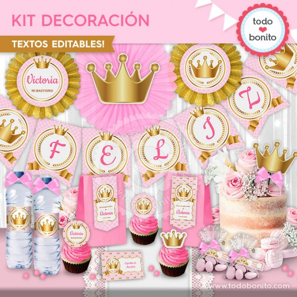 Coronita rosa: kit imprimible decoración de fiesta