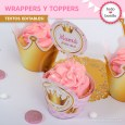 Coronita rosa: wrappers y toppers para cupcakes