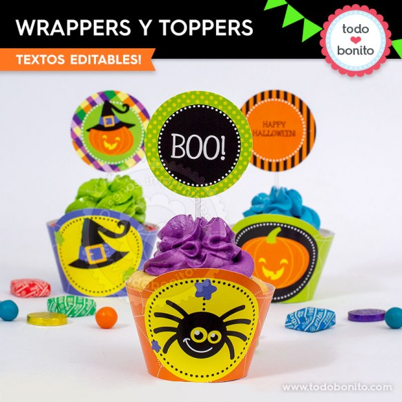Halloween 02: wrappers y toppers para cupcakes