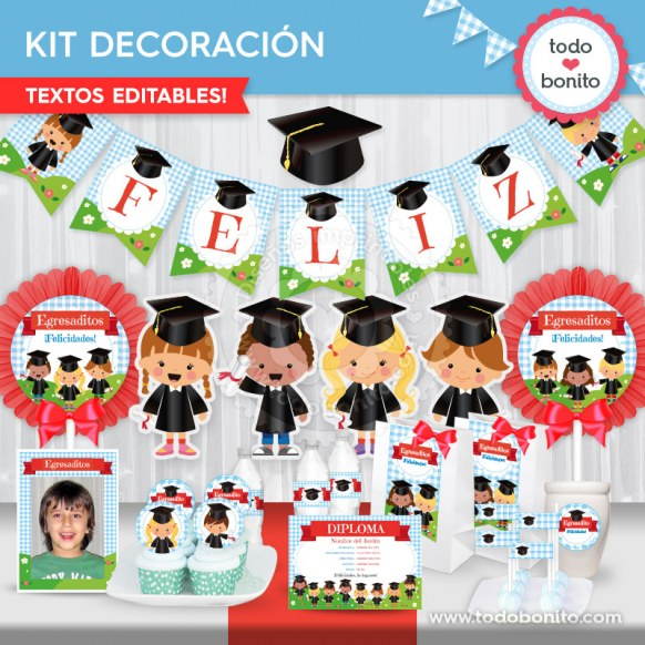 Egresaditos: kit imprimible decoración de fiesta