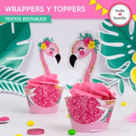 Flamencos y ananá: wrappers y toppers