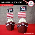 Piratas: wrappers y toppers para cupcakes