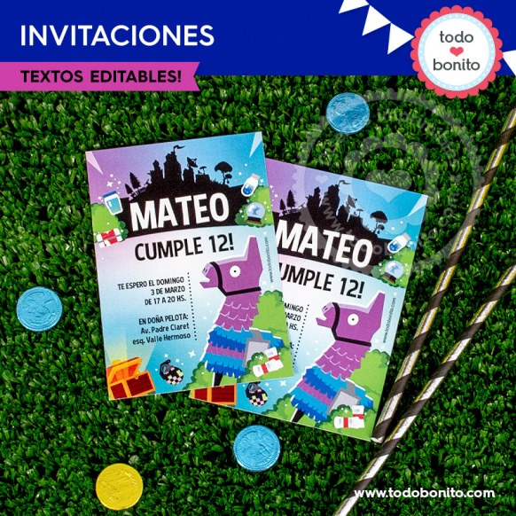 Fortnite: tarjeta invitación imprimible y digital