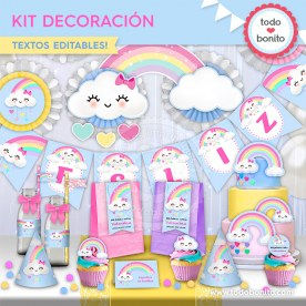 Lluvia de amor: kit imprimible decoración de fiesta