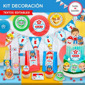 Paw Patrol: kit imprimible decoración de fiesta