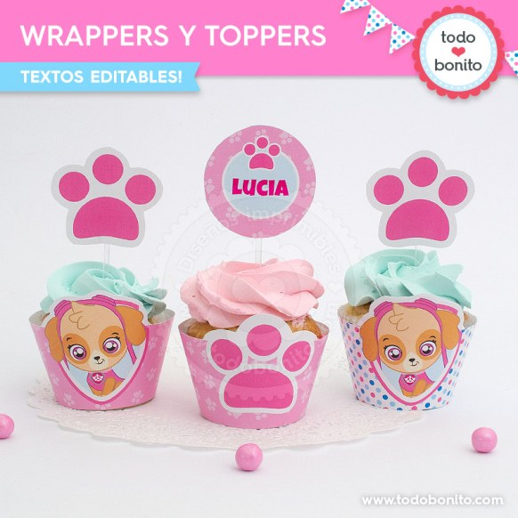 Skye Paw Patrol: wrappers y toppers para cupcakes