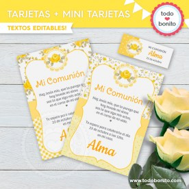 Shabby Chic Amarillo: invitación imprimible y digital