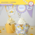 Shabby Chic violeta y amarillo: wrappers y toppers
