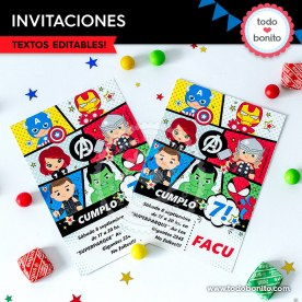 Avengers: invitación imprimible y digital