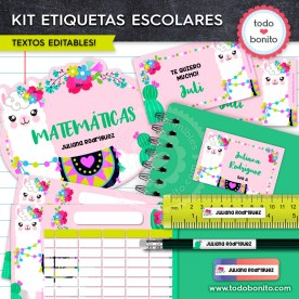 Llamitas: Kit imprimible etiquetas escolares