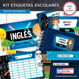 Star Wars: Kit imprimible etiquetas escolares