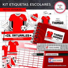 Fútbol Independiente: Kit imprimible etiquetas escolares
