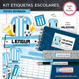Fútbol Racing: Kit imprimible etiquetas escolares