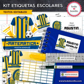 Fútbol Rosario Central: Kit imprimible etiquetas escolares