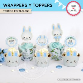 Conejito: wrappers y toppers