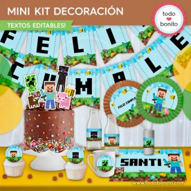 Minecraft: MINI KIT decoración de fiesta