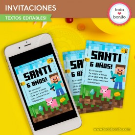 Minecraft: invitación imprimible y digital