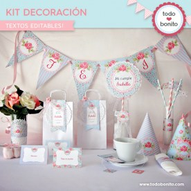 Shabby Chic Aqua+Rosa: kit imprimible decoración de fiesta