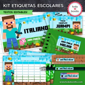 Minecraft: Kit imprimible etiquetas escolares
